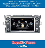A8 Chipset 3G Wifi 7 Inch Touch Screen Car GPS For Toyota Verso With GPS Navigation Dual Core BT Radio Free Map