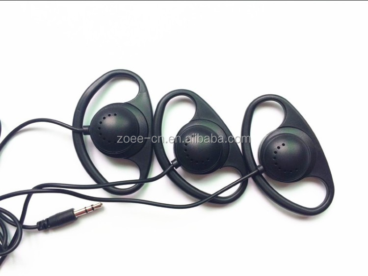 D-Shape Single Sided Tour Guide Earphone with 3.5mm Jack Connector