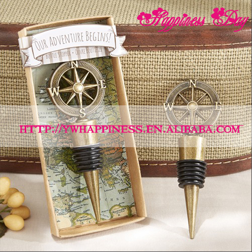 "Wine Wedding Favors ""Our Adventure Begins""Compass Wine Bottle Stopper Wedding Souvenir Gifts"