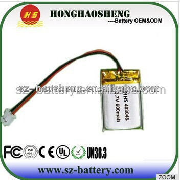 3.7v rechargeable battery prismatic soft pack battery 403048 3.7v 600mah li-polymer battery