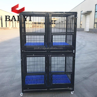 Wholesale Square Tube Expanded Metal Dog Cages With Wheels