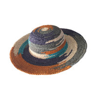 Natural colorful raffia crocheted straw beach hats to decorate