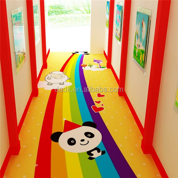 Colorful Carton Kids Kindergarten Daycare PVC Flooring