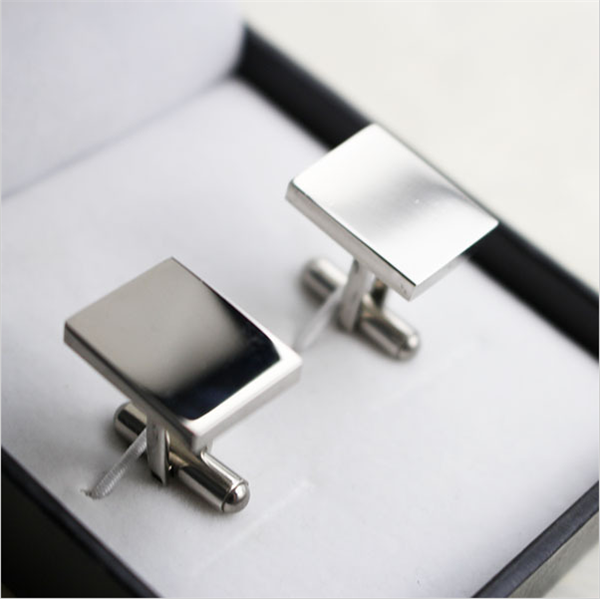 stainless steel fashion men's cufflinks rectangle shape custom engraved business cuff links blank cufflinks sets for men