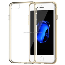 Soft TPU Fit Protective Crystal Clear Back Case Shock-Absorption Transparent Back Cover for iPhone 7-- 4.7 inch Gold