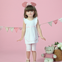 White fabric with pink dot girls top set frock suits for baby girl