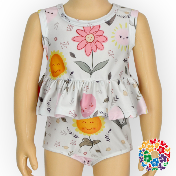 Hot 2 Pcs Flower Print Baby Swim Suit Kids Cotton Tops And Bloomers Swimsuits Boutique Girls Bikini Swim Wear Clothes Set