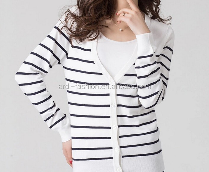 2015 V neck buttoned down long sleeve black white stripes ladies knitted cardigan