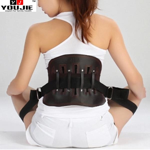 High Quality Leather Lumbar Support Back Belt with Heating Pad