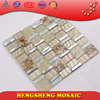 stainless steel brush crackle glass mosaic tile