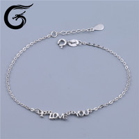GuoLong fashion bracelet 2015 letter I LOVE YOU bracelet 925 silver