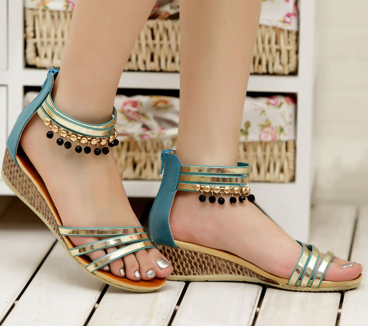 D21004Q 2014 NEW DESIGNS NATIONAL STYLE BOHEMIA ZIPPER WEDGE WOMEN'S SANDALS