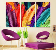 3 unidades de color mirada fresca pluma casa moderna decoración de la pared pintura canvas art hd cuadro en canvas prints