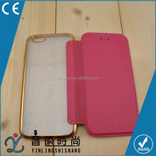 China wholesale High Quality Phone Case Electroplating Bumper Leather Skinning flip Cover Case for iphone 6 6s