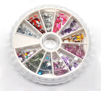 Wheel Mixed Nail Art Tips Acrylic Rhinestone Decoration 2x2mm-4x2mm, sold per pack of 5 boxes,8seasons