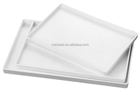 Bamboo pattern restaurant melamine white plastic serving tray