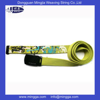 high quality customized designer striped canvas belts with printing in the end