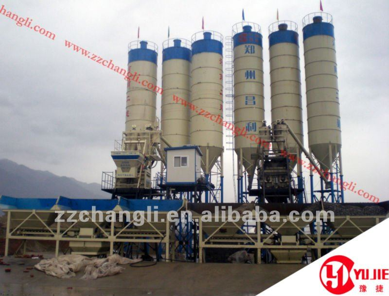 Low Cost and High Mobility Concrete Mixing Plant HZS75(75m3/h), Low cost and high mobility