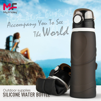 Wide-Mouth BPA Free Daily Use Silicone Drinking Canteen Collapsible Spill Proof Travel Water Bottle