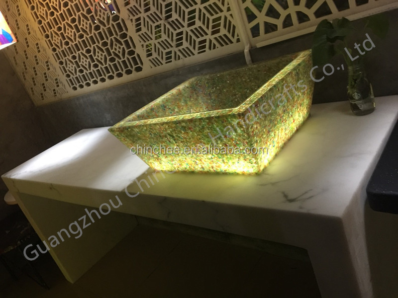 Translucent stone decorative panel LED wash basin