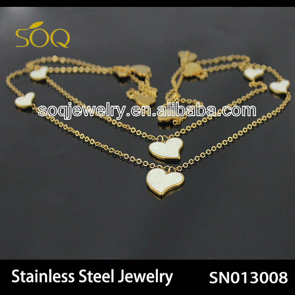 SN013008 Alibaba Wholesale 18k Gold Stainless Steel Link Chain with Enamel Heart Necklace