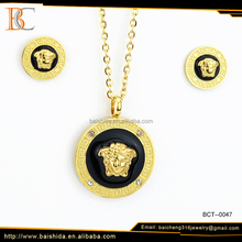 lion pendant earring set classic man jewelry round shape stainless steel set for anniversary