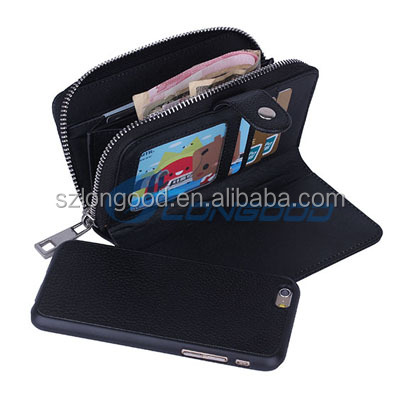 Leather Wallet Case + cell phone case cover For iPhone 6 4.7""