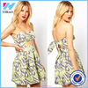 2017 New Floral Printed Women Dress Vestidos de fiesta Sexy Halter Bra Wrapped Chest Party Dresses