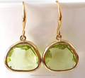 Apple Green Crystal Dangle Teardrop Earrings - Gold Plated Light Green Jewelry Gift
