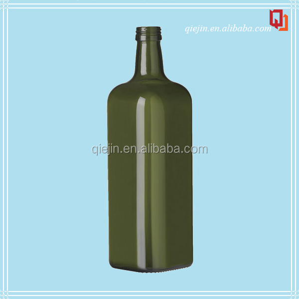 250ml 500ml 750ml dark green square olive oil glass bottle/marasca glass bottle with metal cap/cooking oil