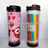 2015 hot sell plastic acrylic tumbler with removable insert paper(HY-A2018 with color paint)
