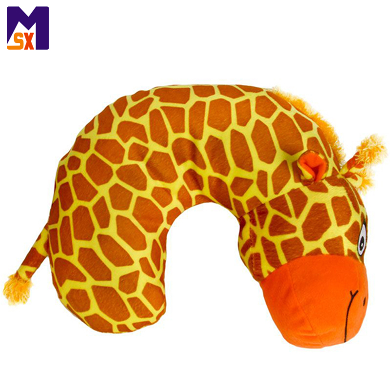 Custom stuffed giraffe plush travel neck support pillow