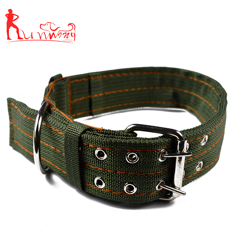 High Quality Fashion Army Green Nylon Webbing Dog Collar,with Sturdy Metal Double-breasted