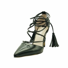 Wholesale leather shoes tassel lace up pointed toes high heels for women