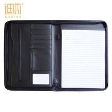 2017 Fashion PU leather business office stationery document notepad compendium presentation folder a4 zip notebook portfolio