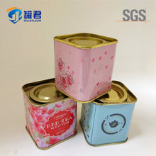Food Grade New Style Square Flower Tea Tin Can