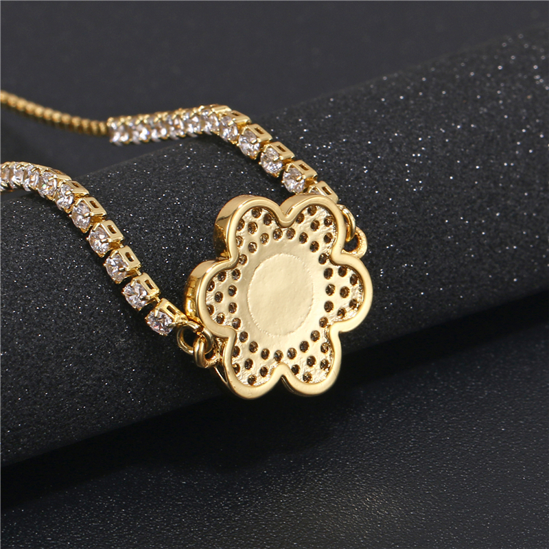 hot selling  fashion gold plated  flower  shape druzy quartz vacuum charm jewelry manufacturer bangles bracelet jewelry