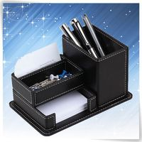 Black PU leather pocket pen holder