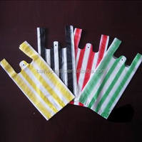 HDPE color stripe bags/t-shirt bags for shopping