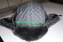 diamond Quilted Nylon and Faux Fur Trapper Hat