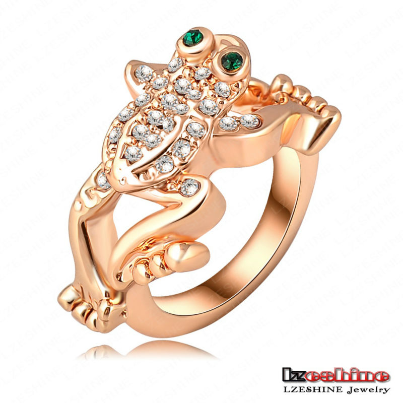LZESHINE New Design Fashion 18K Gold Plate Austrian Crystal SWA Element Jumping Frog Exaggerated Ring Jewelry Ri-HQ0128