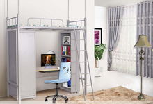 Modern design school use metal bunk bed with desk and wardrobe