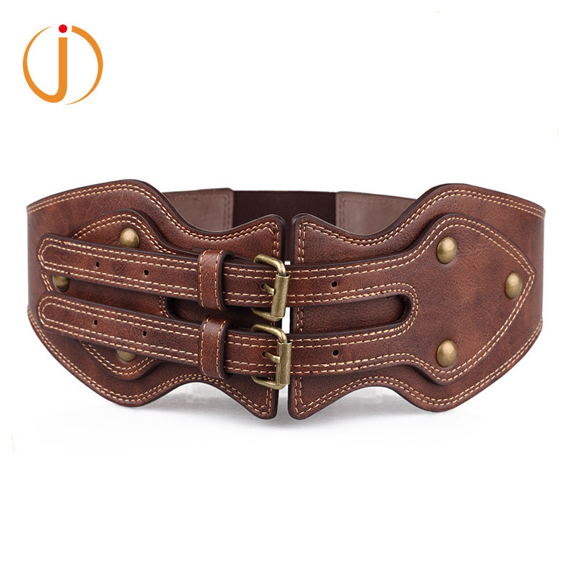 New Lady Brown Wide Elastic Pin Buckle Leather Belt For Women Vintage Rivet Summer Style Female Dress Belts