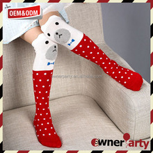 cute dog white red dot school girl knee high sock