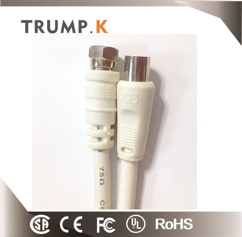 White nickle plated plug 3c-2v tv coaxial cable from china factory