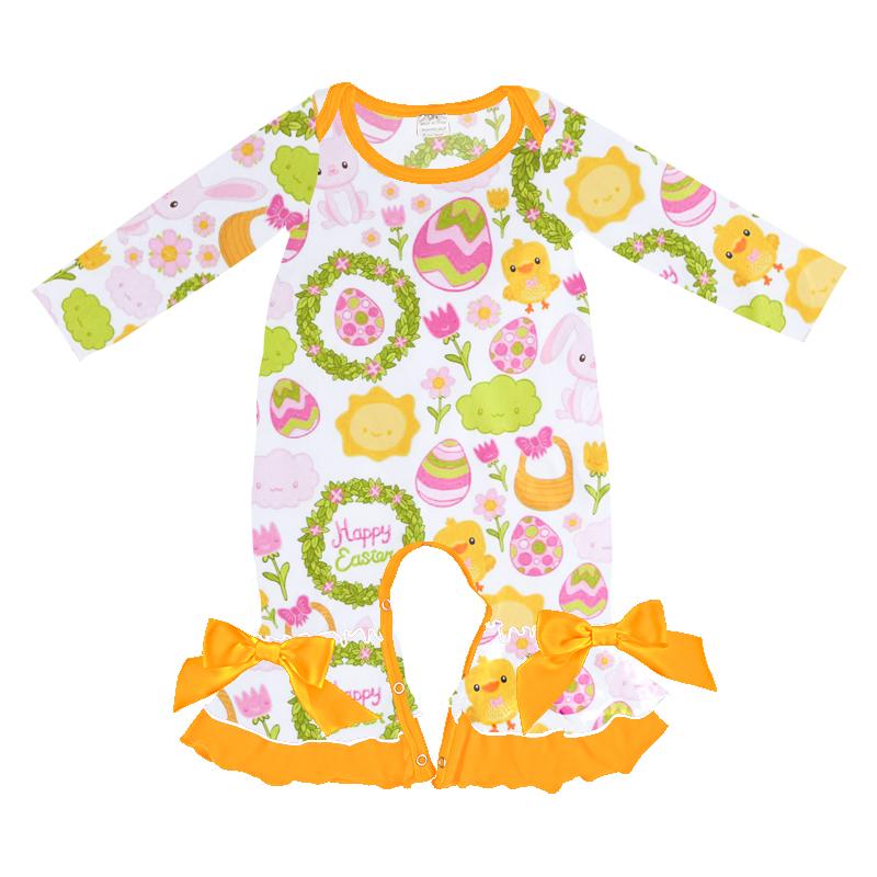 wholesales girls baby clothing letter print cartoon romper wholesales Easter baby romper