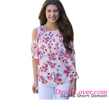 2017 latest fashion top design Cold Shoulder Pink Floral Blouse
