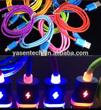 1m 3ft Fabric Braided charger cable LED usb cable charging cord charger leads for samsung and for iPhone