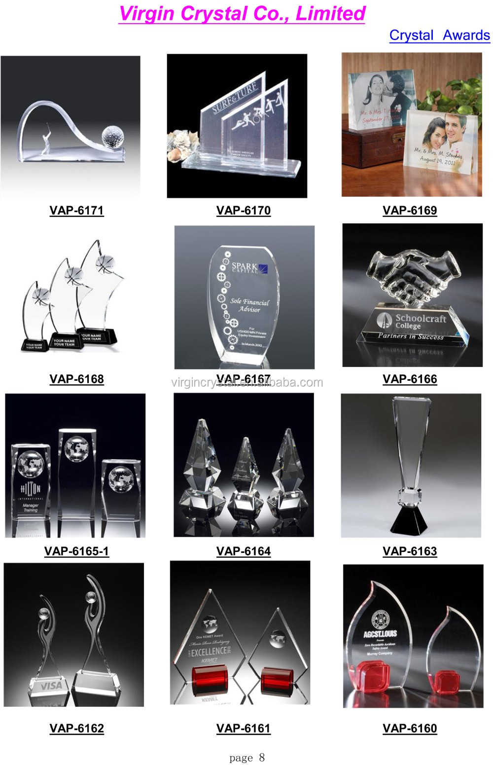 Fashion design double deck Crystal black plaque with clear Awards