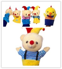 Queena Cartoon Animal Clown Birthday Bear Elephant Finger Doll Plush Hand Puppets